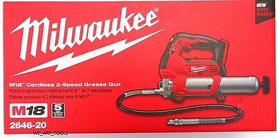 New In Box Milwaukee 2646-20 M18 18V Cordless Lit-Ion 2-Speed Grease Gun 18 Volt