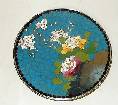 """Small Turquoise Floral Cloisonne Enamel Inaba 4""""3/4 Plate Signed"""