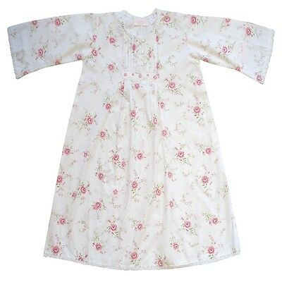 100% Cotton Longsleeve Nightdress - Jenny - Roses - Powell Craft - Ages 4-12
