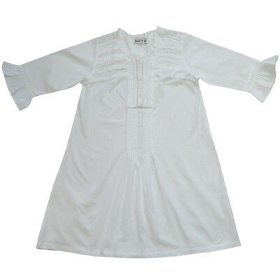 100% Cotton Longsleeve Nightdress - Belle - Lace Trim - Powell Craft -Ages 4-12