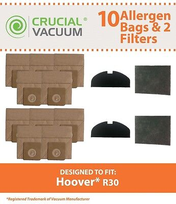 10 Hoover Vacuum R30 Bags 4 Filters Fit S1361 Portable Canister Cleaner 40101002