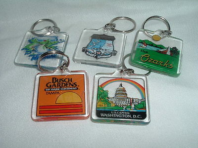 Lot of 5 Vintage Lucite State Travel Keychains