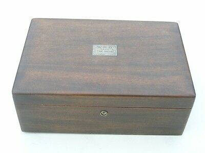 Fine Antique Walnut Wood Hinged Cigar Box Silver Plaque WRQ From The Boys 1922