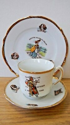 Antique cup saucer plate rhyme Germany 70 kitten puppy rare porcelain set