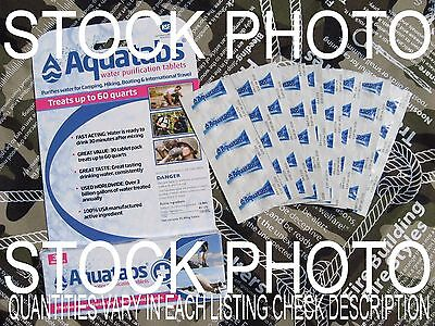 AQUATABS GERMICIDAL WATER PURIFICATION TABLETS- A Bug Out Bag Must! EXP 10/24