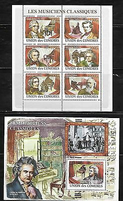 Comoro Islands 1039-40 Classical Music Composers Mint NH