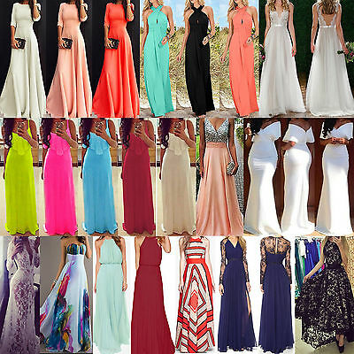 NT Women Long Chiffon Evening Formal Party Cocktail Dress Bridesmaid Prom Gown A