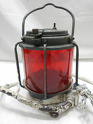 Vintage Copper Ship's Light Lamp Electric RED GLASS Japanese  #39