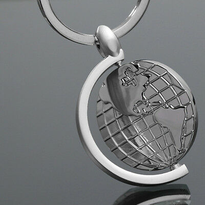 1 Pc Simple Alloy Globe Pendant Key Chain Key Ring Bag Accessories Gift
