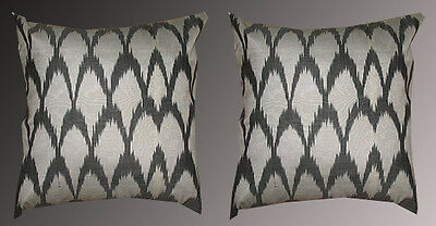 2 Uzbek Silk Ikat Fabric Pillow Cases Orient 5712-7374