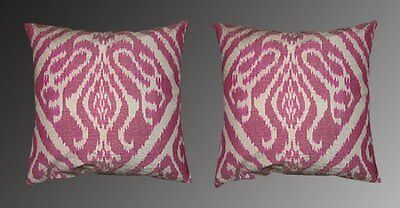2 Uzbek Silk Ikat Fabric Pillow Cases Orient 8937-8976