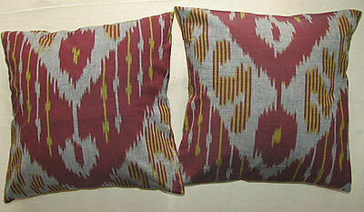 2 Uzbek Silk Ikat Fabric Pillow Cases Orient 6562