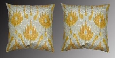 2 Uzbek Silk Ikat Fabric Pillow Cases Orient 7061