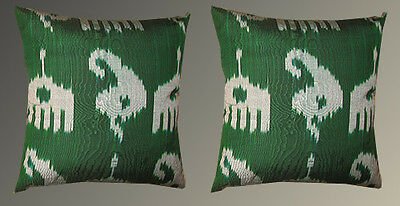 2 Uzbek Silk Ikat Fabric Pillow Cases Orient 7971*