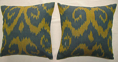 2 Uzbek Silk Ikat Fabric Pillow Cases Orient 6563