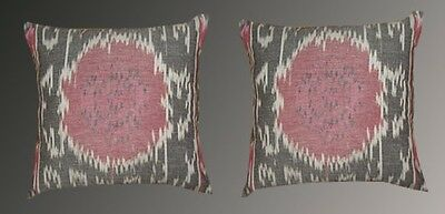 2 Uzbek Silk Ikat Fabric Pillow Cases Orient 8278-8320