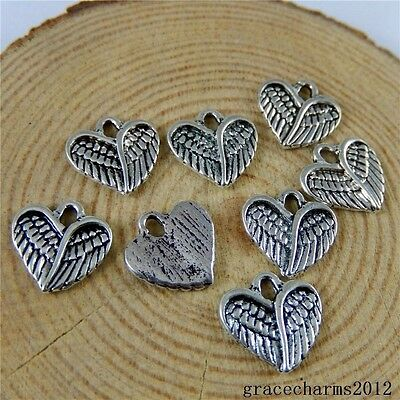 48x Vintage Silver Alloy Feather Wings Heart Pendants Charms Crafts 51026
