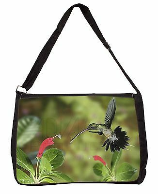 Green Hermit Humming Bird Large Black Laptop Shoulder Bag Christmas Gif, AB-95SB