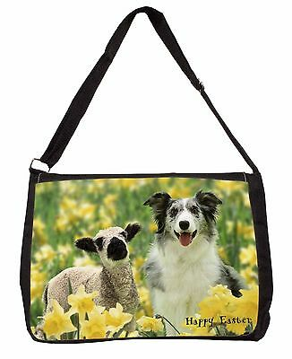 Border Collie with Lamb 'Happy Easter' Large Black Laptop Shoulder B, AD-BC1EASB