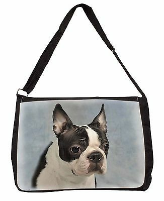 Boston Terrier Dog Large Black Laptop Shoulder Bag Christmas Gift Idea, AD-BT8SB
