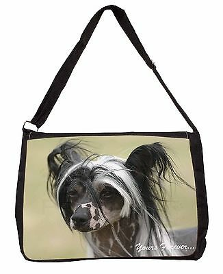 """Chinese Crested Dog """"Yours Forever..."""" Large Black Laptop Shoulder B, AD-CHC2ySB"""