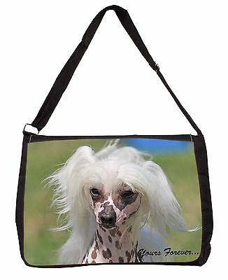 """Chinese Crested Dog """"Yours Forever..."""" Large Black Laptop Shoulder B, AD-CHC4ySB"""