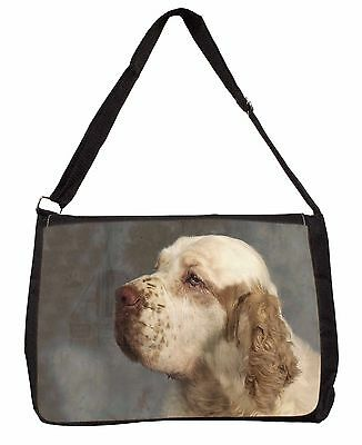 Clumber Spaniel Dog Large Black Laptop Shoulder Bag Christmas Gift Ide, AD-CS1SB