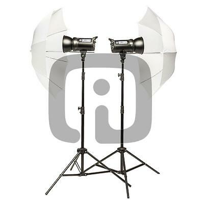Quadralite  Up! 400 Kit Flash da Studio 2x Up! 200 Con Stativi E Ombrelli Attacc