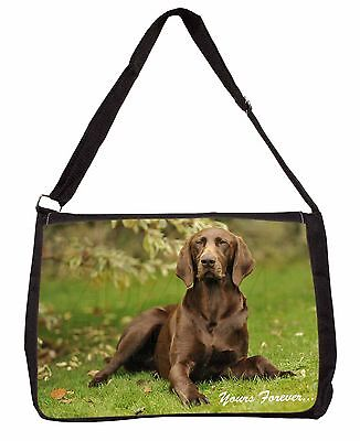Brown German Pointer 'Yours Forever' Large Black Laptop Shoulder Bag, AD-GSP1ySB