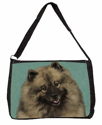 Keeshond Dog Large Black Laptop Shoulder Bag School/College, AD-KEE1SB