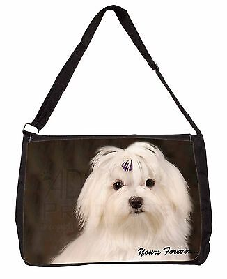 Maltese Dog 'Yours Forever' Large Black Laptop Shoulder Bag Christmas , AD-M1ySB