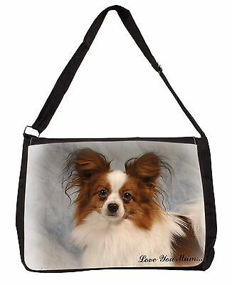 Papillon Dog 'Love You Mum' Large Black Laptop Shoulder Bag Christm, AD-PA1lymSB