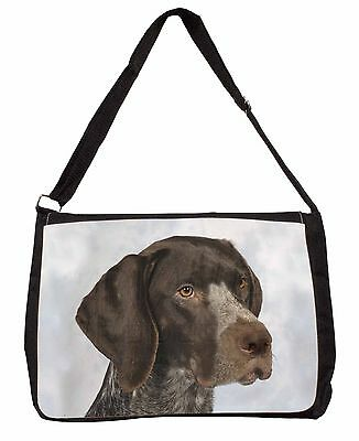 German Pointer Dog Large Black Laptop Shoulder Bag School/College, AD-PG2SB