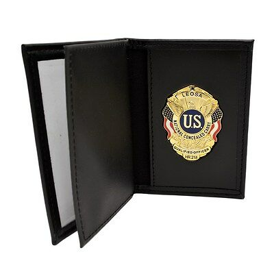 LEOSA Qualified Officer Badge Leather Double ID Document Permit License Holder