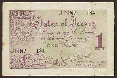 Ro.661b Jersey German Occupation 1 Pound (1941-42) Pick 6 (3-)