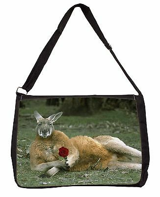 Kangaroo with Red Rose Large Black Laptop Shoulder Bag School/College, AK-1RSB