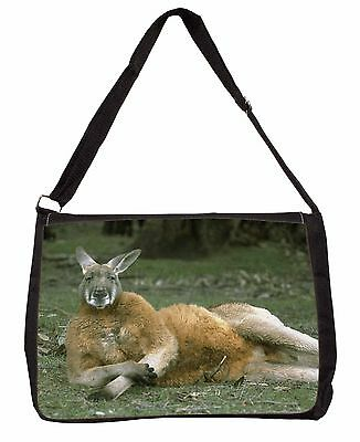 Cheeky Kangaroo Large Black Laptop Shoulder Bag School/College, AK-1SB