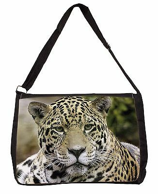 Leopard Large Black Laptop Shoulder Bag Christmas Gift Idea, AT-38SB