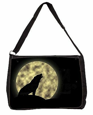Howling Wolf and Moon Large Black Laptop Shoulder Bag School/College, AW-7SB
