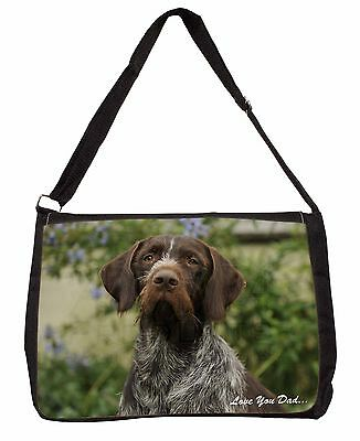 German Pointer 'Love You Dad' Large Black Laptop Shoulder Bag School/C, DAD-48SB