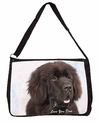 Newfoundland Dog 'Love You Dad' Large Black Laptop Shoulder Bag School, DAD-79SB