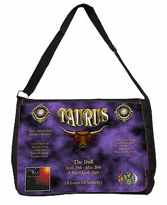 Taurus Star Sign Birthday Gift Large Black Laptop Shoulder Bag Christma, ZOD-2SB