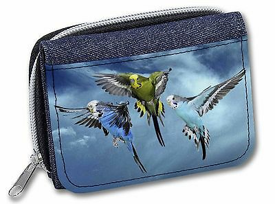 Budgies in Flight Girls/Ladies Denim Purse Wallet Christmas Gift Idea, AB-96JW