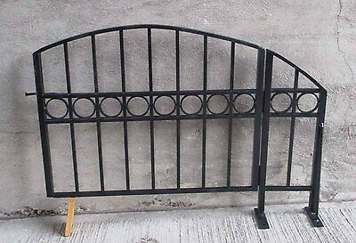 Decorative Arch Top Black Wrought Iron / Steel Swing Gate