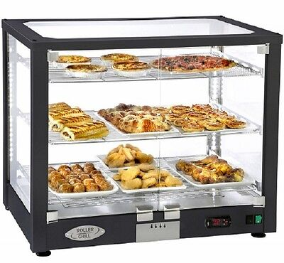 Roller Grill Pie Cabinet - Heated Illuminated Display - 3 Shelf - Black Finish
