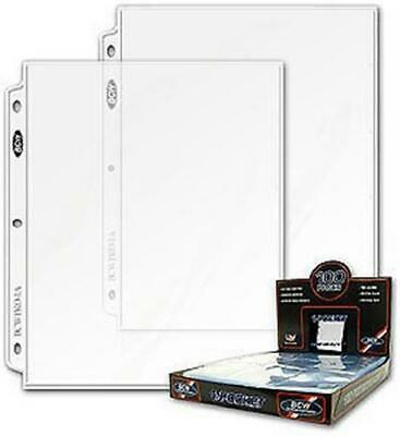 Case 1000 BCW 1-Pocket 8.5x11 Photo / Magazine 3-ring Album Pages binder sheets