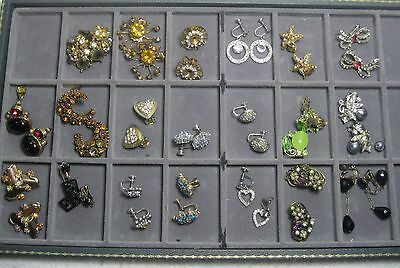 20 pr. vintage rhinestone earrings EASY REPAIR: 1 or 2 'stones missing lot #1r6