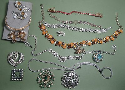 Lot Rhinestone Jewelry 15 Easy Repair a few missing 'stones  All pictured #10