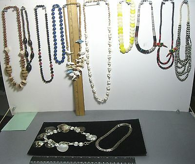 Lot 12 vintage necklaces mixed styles & materials #8