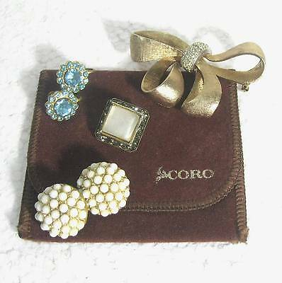 LOT 4 pieces of CORO rhinestones jewelry earrings & pins B18